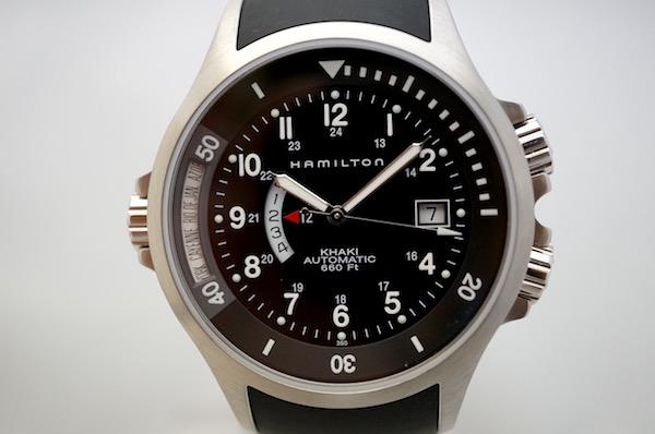 国内正規品ハミルトン カーキネイビーGMT H77615333 ブラックラバー 限定販売モデル