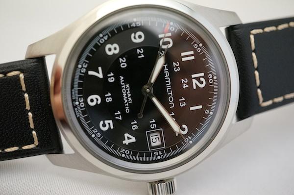 国内正規品ハミルトン NEWカーキフィールドオート38ミリ黒革ベルト H70455733